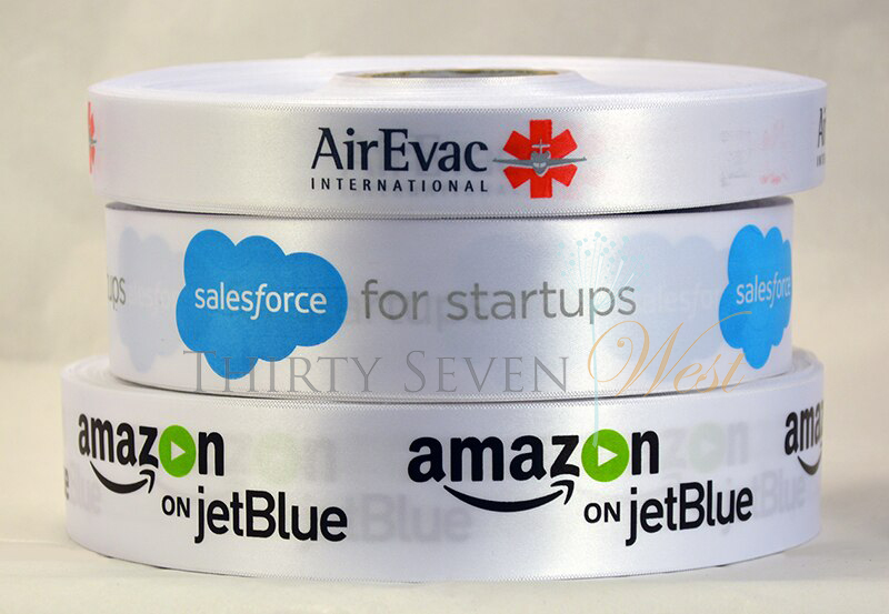 Customized Multi-Color Ribbon, Corporate Logo Ribbons, AirEvac International, Sales Force for Start ups, Amazon on Jet Blue, Custom Logo Satin Ribbon Multi-color Print