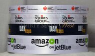 Amazon on JetBlue, Day Reps, The Squires Group, American Heart Association Custom Logo Satin ribbon printed with corporate logo in multi colors.
