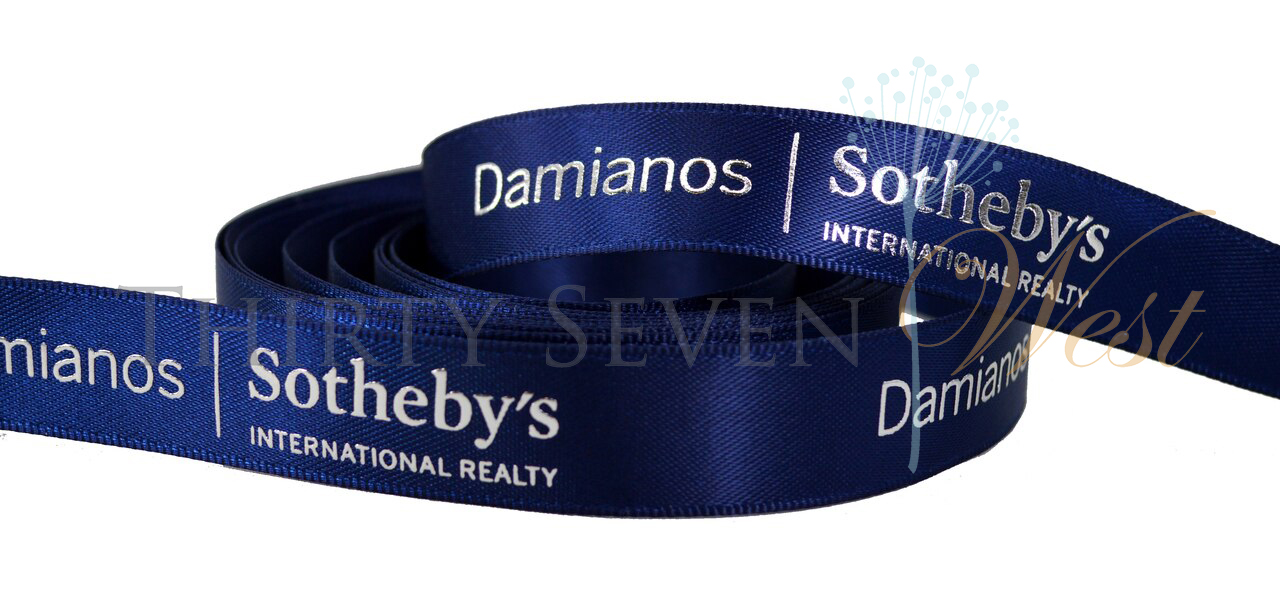 Sotheby's Custom Logo Satin Ribbon with Raised Metallic Print for Company Branding