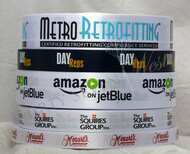 Customized Multi-Color Ribbon, Corporate Logo Ribbons, Metro Retrofitters, Day Reps, Amazon on Jet Blue, The Squires Group, Mozart's