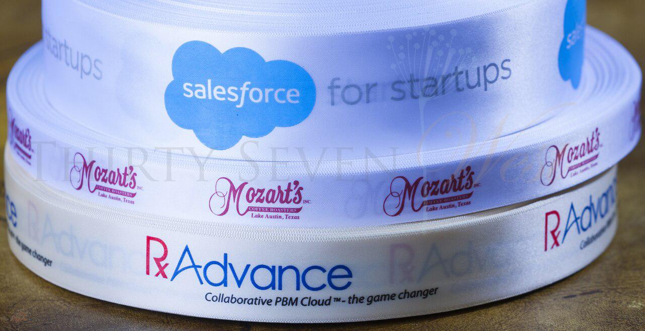 Customized Multi-Color Ribbon, Corporate Logo Ribbons, Salesforce, Rx Advance, Mozart's