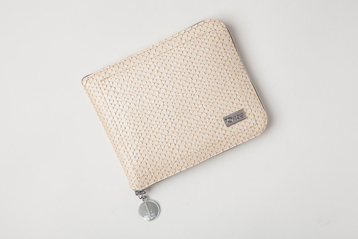 Holland Foldable Shopping Bags - Beige Snakeskin Leather - Folded