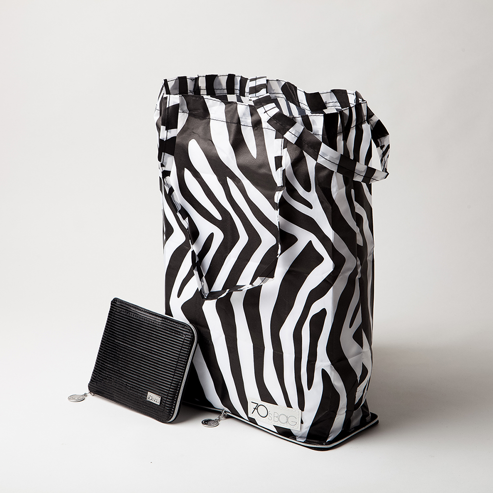 Holland Foldable Shopping Bags - Black Soft Lacquered Leather