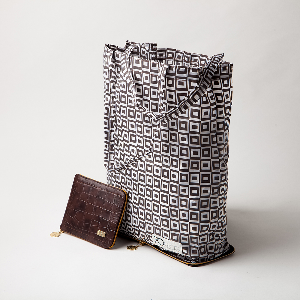 Holland Foldable Shopping Bags - Brown Crocodile Leather