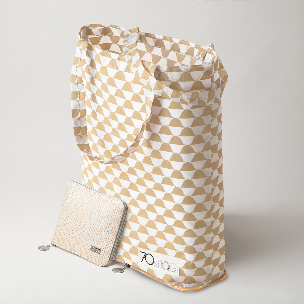 Holland Foldable Shopping Bags - Beige Snakeskin Leather