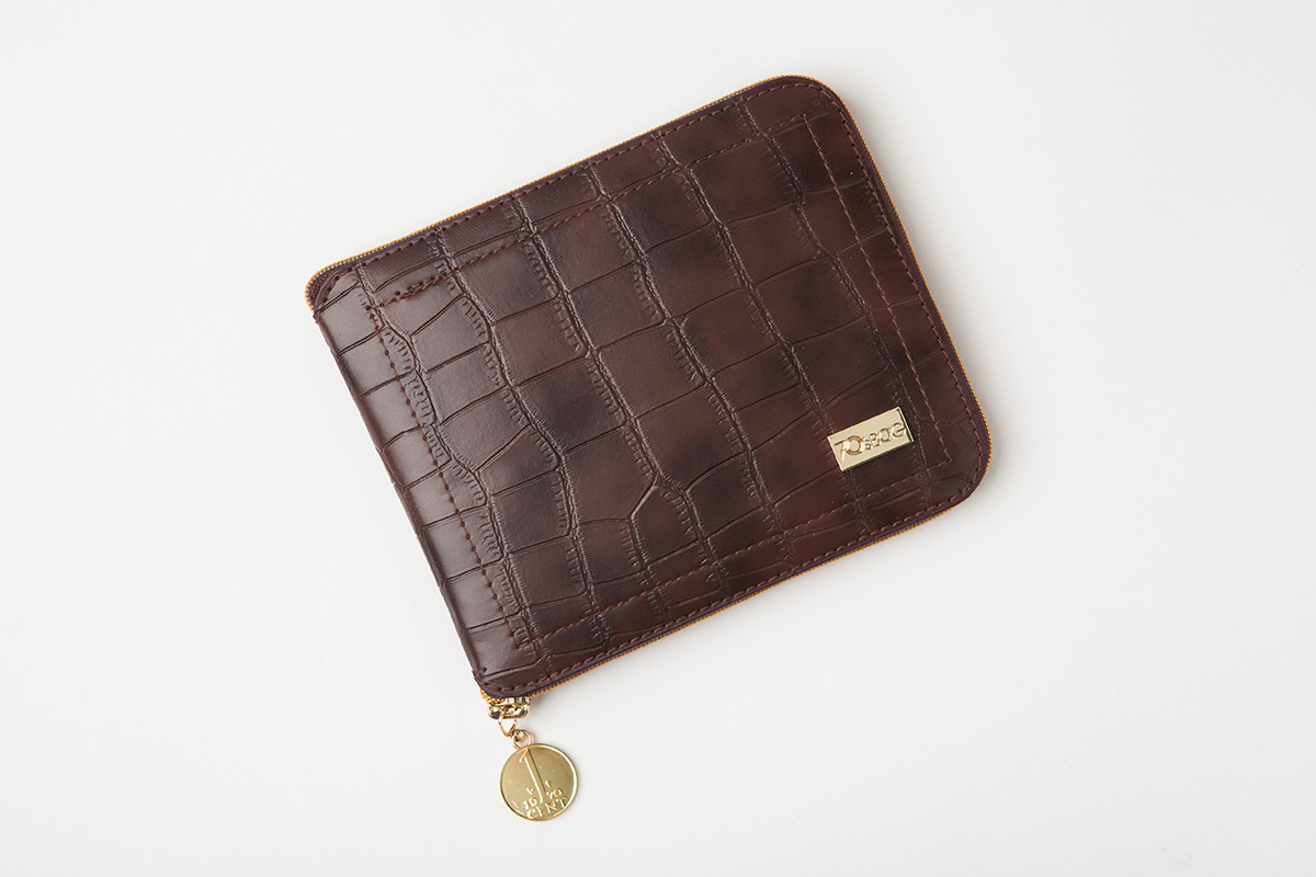 Holland Foldable Shopping Bags - Brown Crocodile Leather - Folded