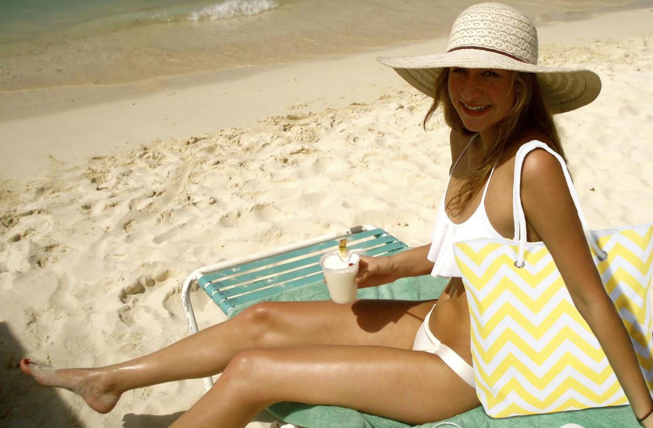 The Nicole Yellow Chevron Beach Tote