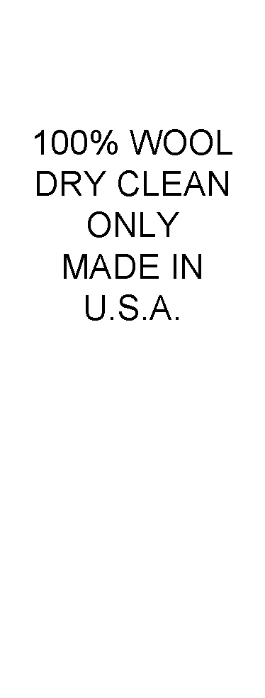 100% Wool, Dry Clean Only, Made in USA Care and Content Labels