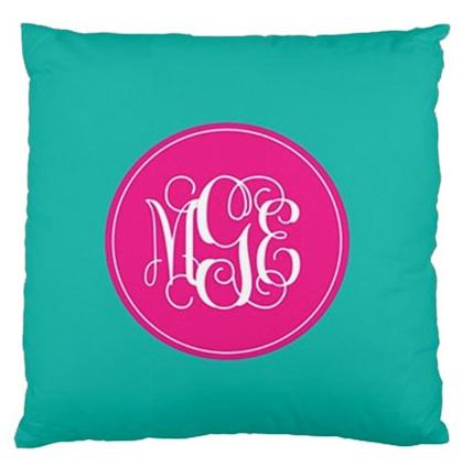 Solid Turquoise Monogram Custom Designer Pillows