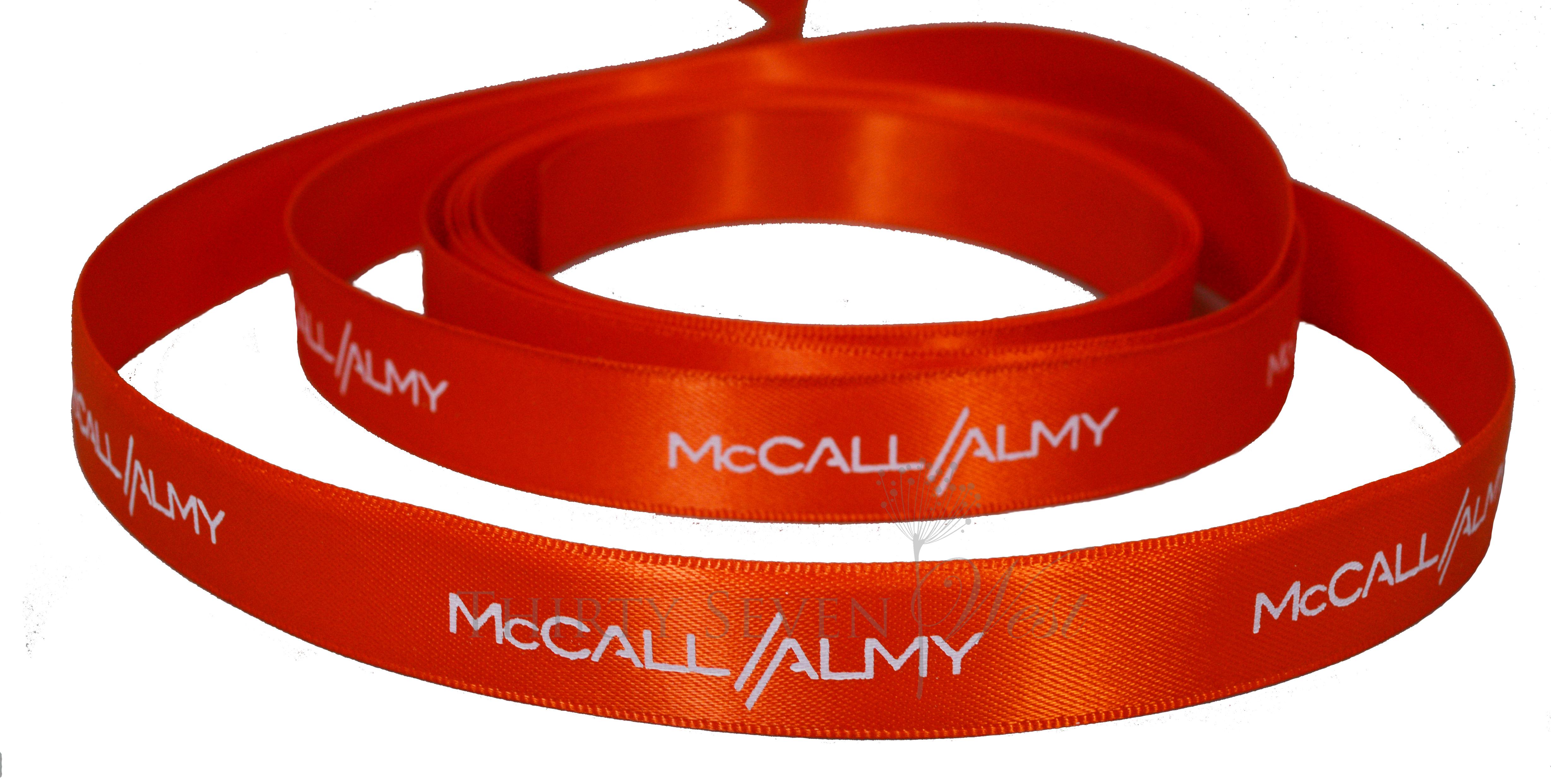 "5/8"" Printed Ribbon ,  Mc Call Almy Ribbon, Company Logo Ribbon,  Custom Logo Ribbon"