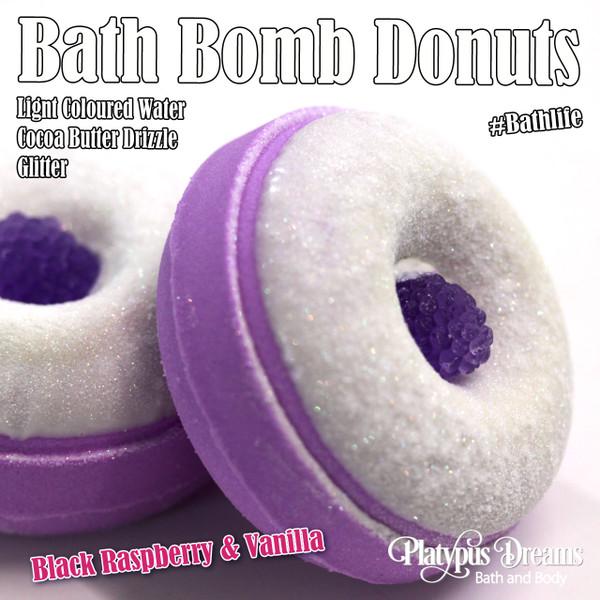 Black Raspberry & Vanilla Bath Bomb Donut - 130g
