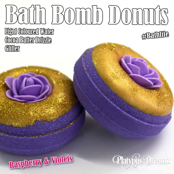 Raspberry & Violets Bath Bomb Donut - 130g