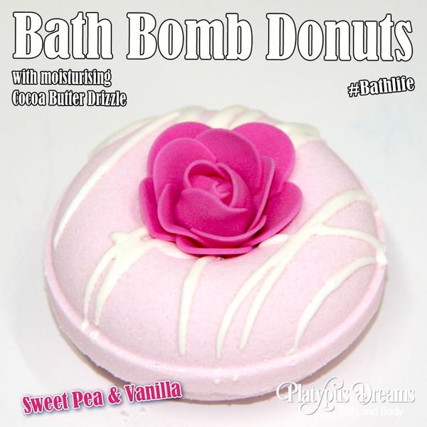 Sweet Pea & Vanilla Bath Bomb Donut - 130g