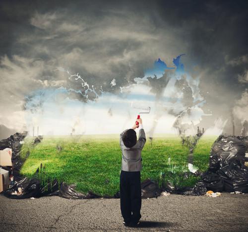 Boy removing pollution.