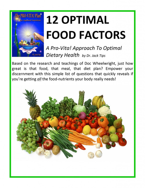 12 Optimal Food Factors – A Pro-Vita! Optimal Meal Worksheet - WellnessWiz Jack Tips