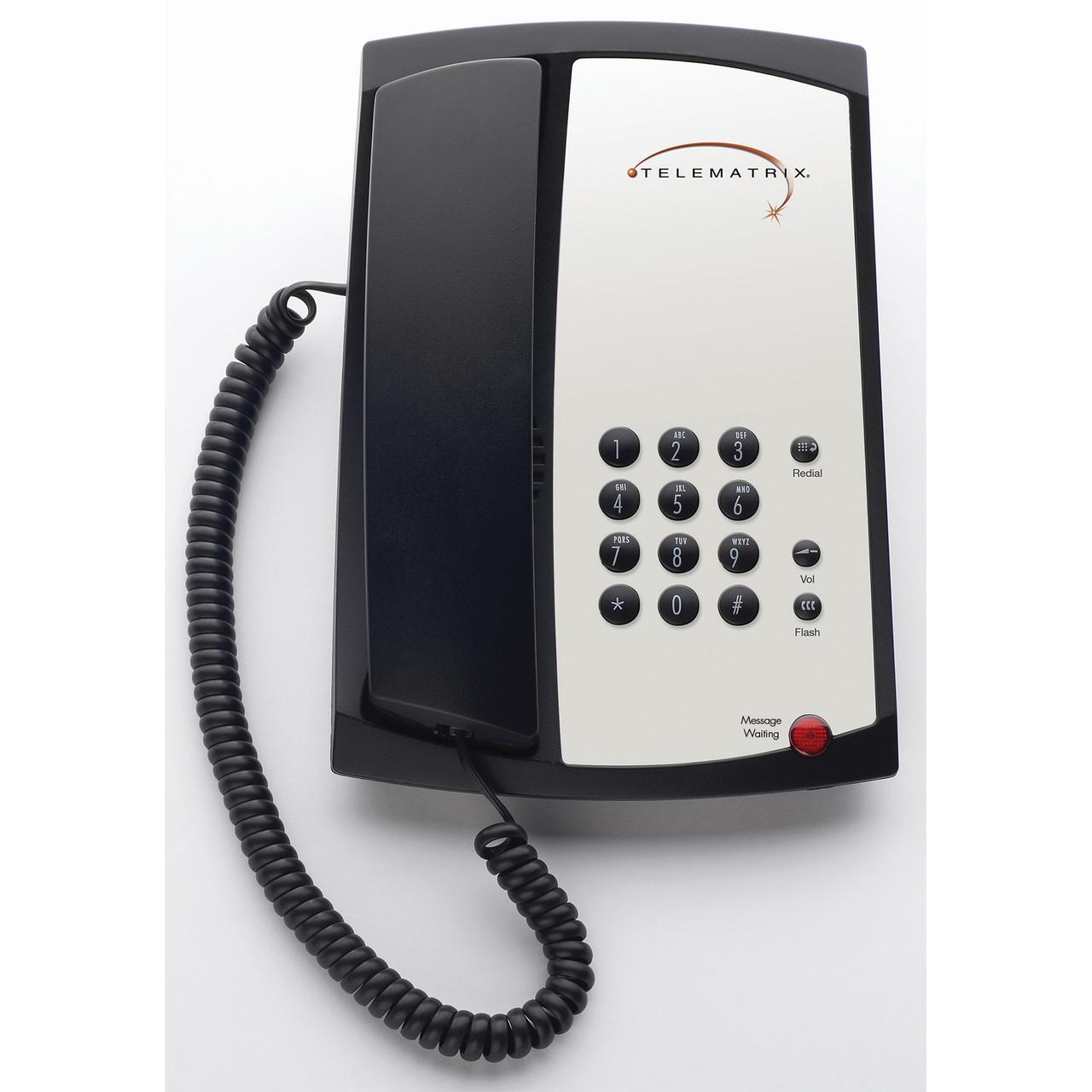 Telematrix 310391 3100MWB Single Line Guest Room Phone Black