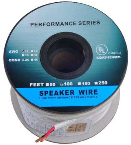 (100 Feet) 12AWG CL2 Rated 2-Conductor Loud Speaker Cable (For In-Wall Installation)
