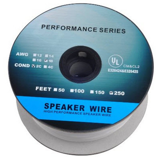 250 Feet 18AWG CL2 Rated 2-Conductor Loud Speaker Cable (For In-Wall Installation)