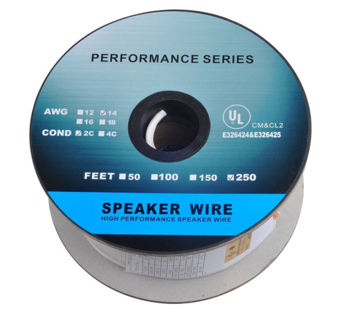 eDragon 250 Feet 14AWG CL2 Rated 2-Conductor Loud Speaker Cable (For In-Wall Installation)