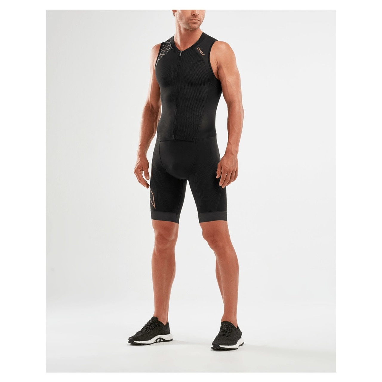 New 2XU Men Compression Full Zip Trisuit Black All Sizes MT5517d