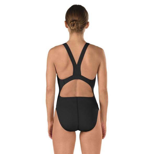 Speedo Women's Solid Endurance Super Pro - Black - Back