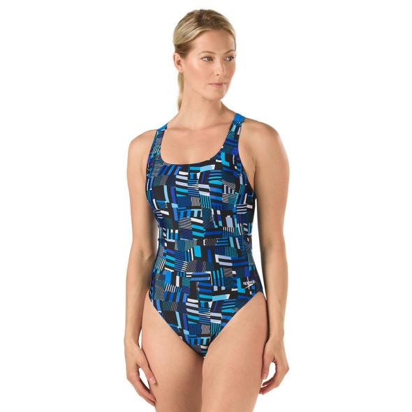 Speedo Women's Trippy Stripe Drop Back Swimsuit