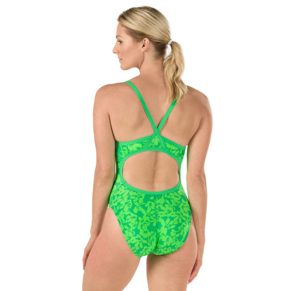 Speedo Women's Flowerista Flyback Swimsuit - Back