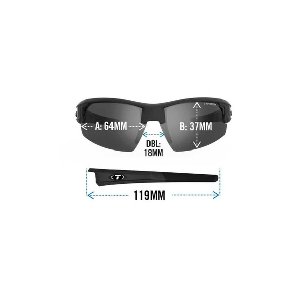 Tifosi Synapse Sunglasses with Fototec Lens - Dimensions