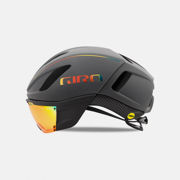 Giro Vanquish Aero Bike Helmet with MIPS - Grey/Firechrome - Side