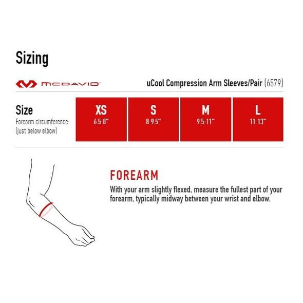 McDavid uCool Compression Arm Sleeves - Sizing