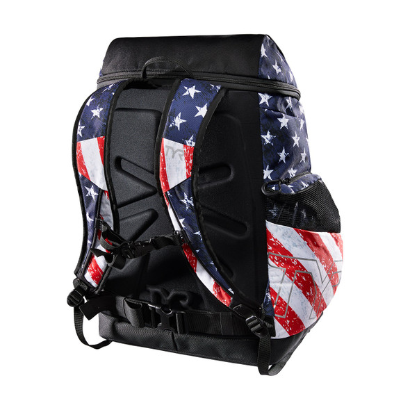 TYR Alliance 45L Star Spangled Print Backpack - Back
