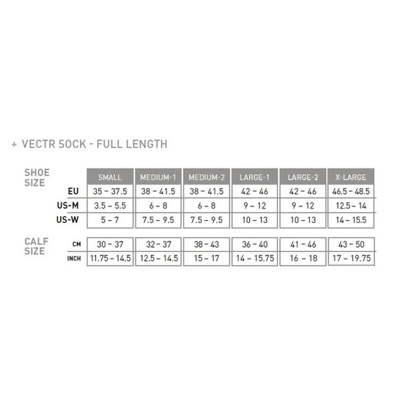 2XU Vectr Light Cushion Full-Length Compression Socks - Size Chart
