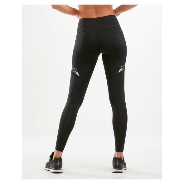 2XU Women's Run Mid-Rise Dash Line Compression Tights - Back