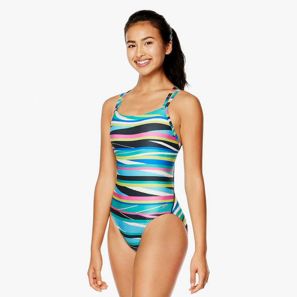 Speedo Women's Party Pattern Volt Back Swimsuit