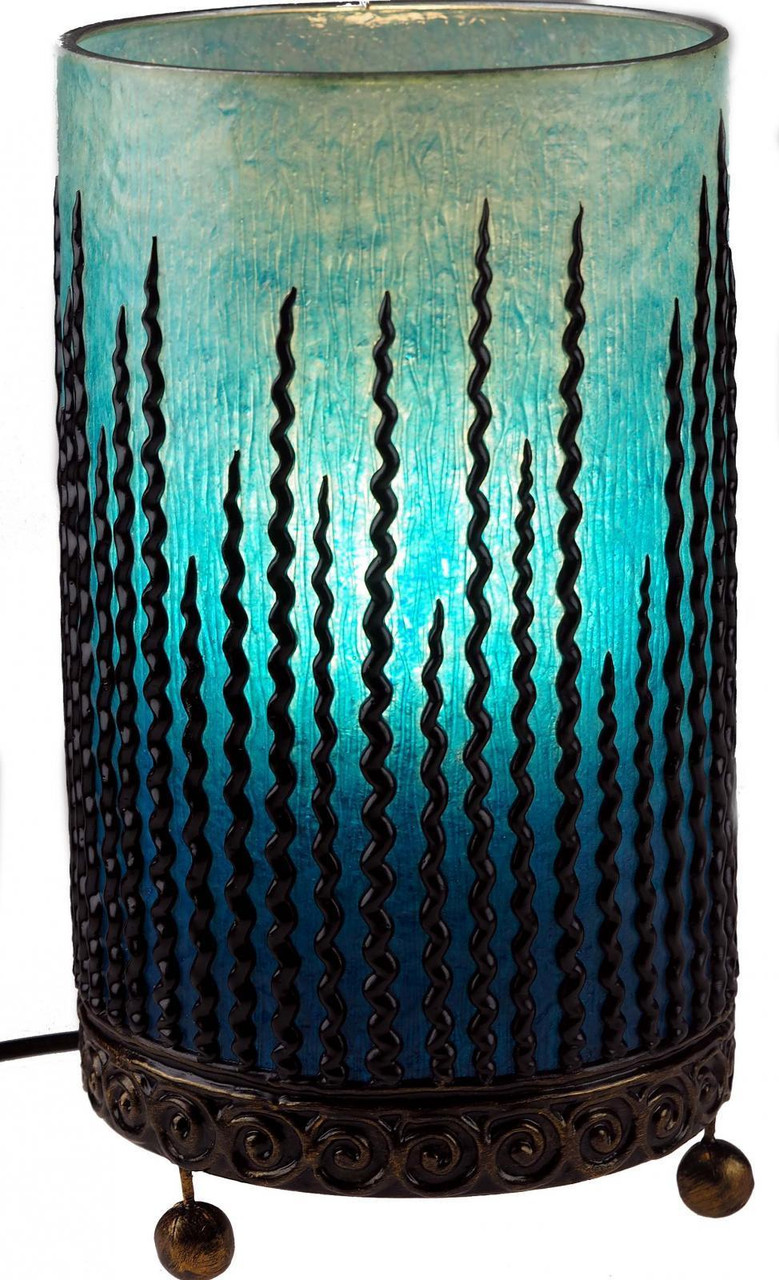 Picture of: Blue Moroccan Table Lamp