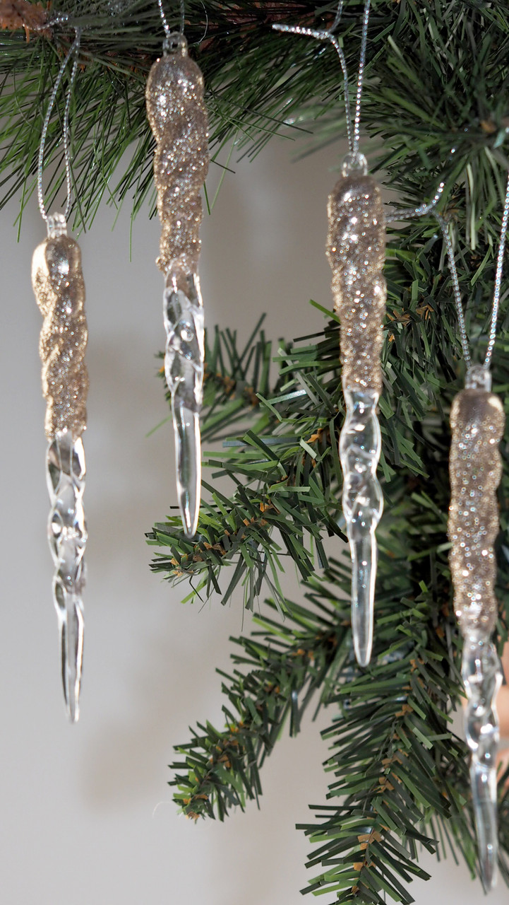 Set Of 18 Ice Effect 12cm Champagne Gold Hanging Icicles Christmas Tree Decorations Blue Whale Gifts