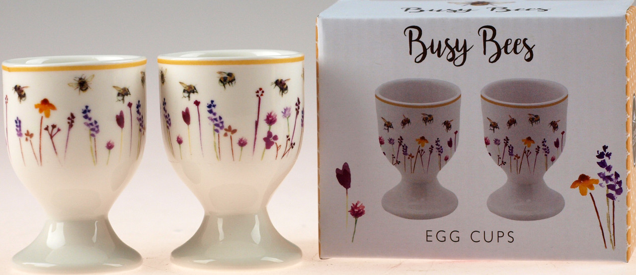 Set Of 4 Busy Bumble Bee China Cups In Gift Box