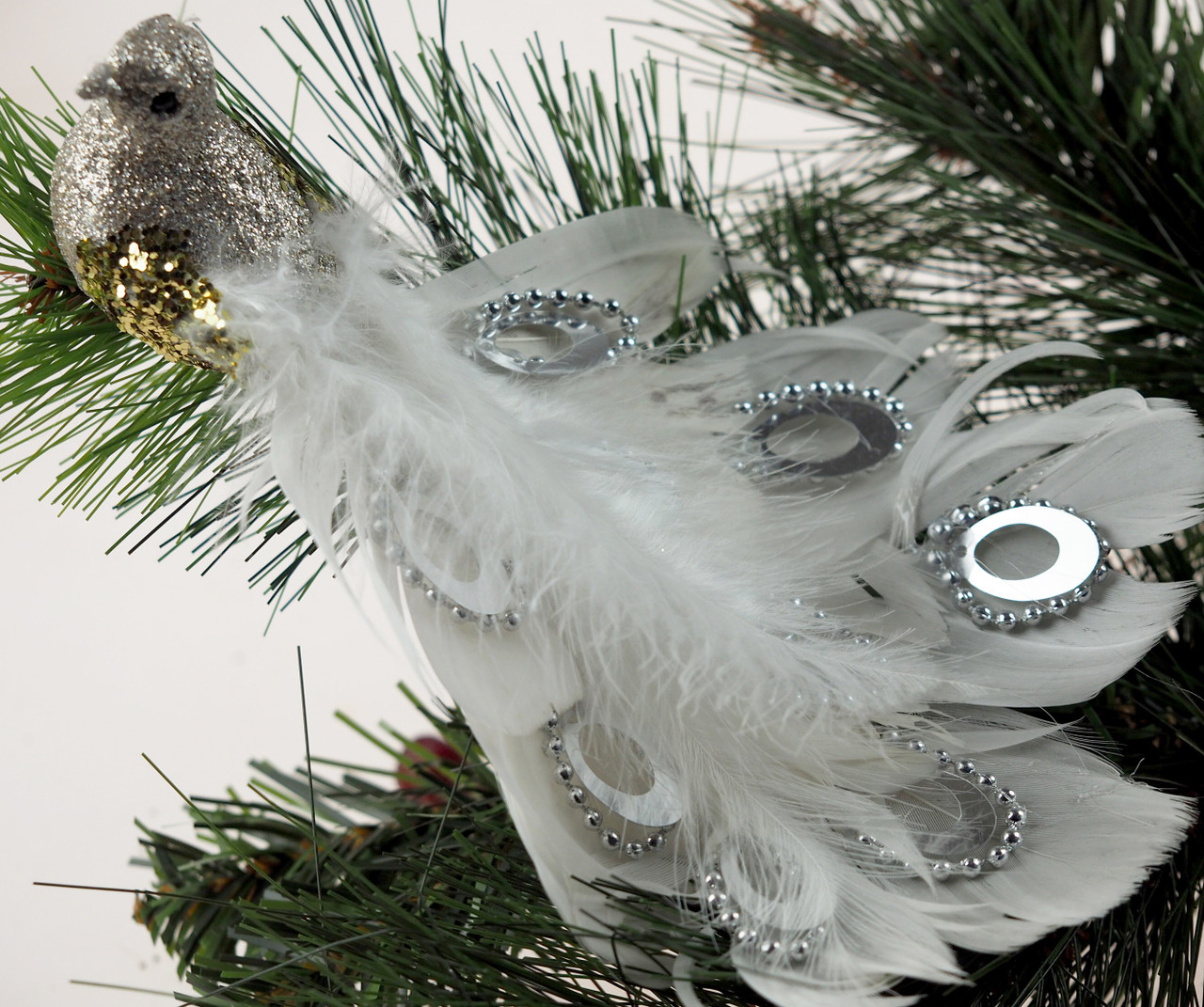 2 White Champagne Peacock Clip On Craft Birds Christmas Tree Decorations Blue Whale Gifts