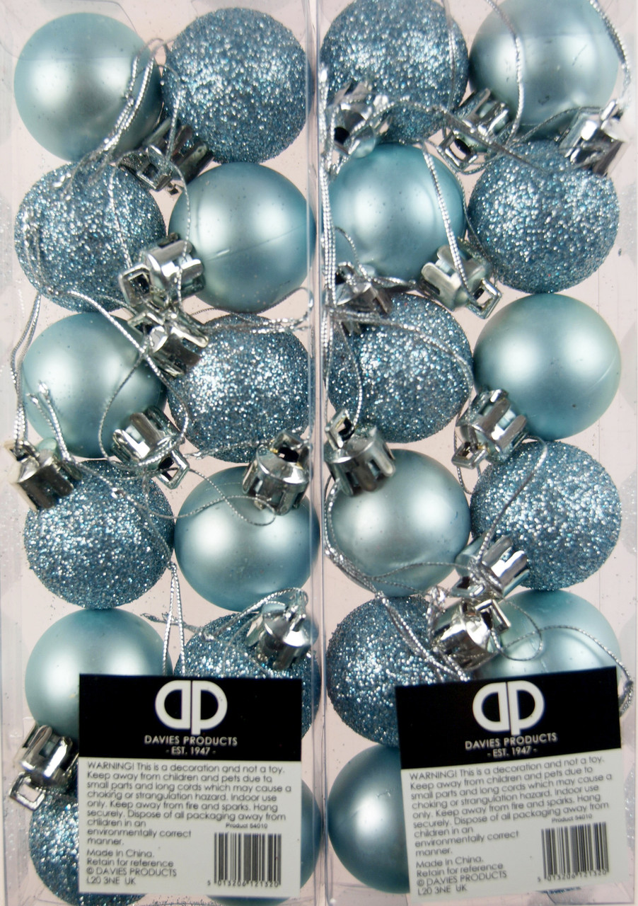 Set Of 24 Mini Christmas Ice Blue Glitter Tree Baubles Decorations Blue Whale Gifts