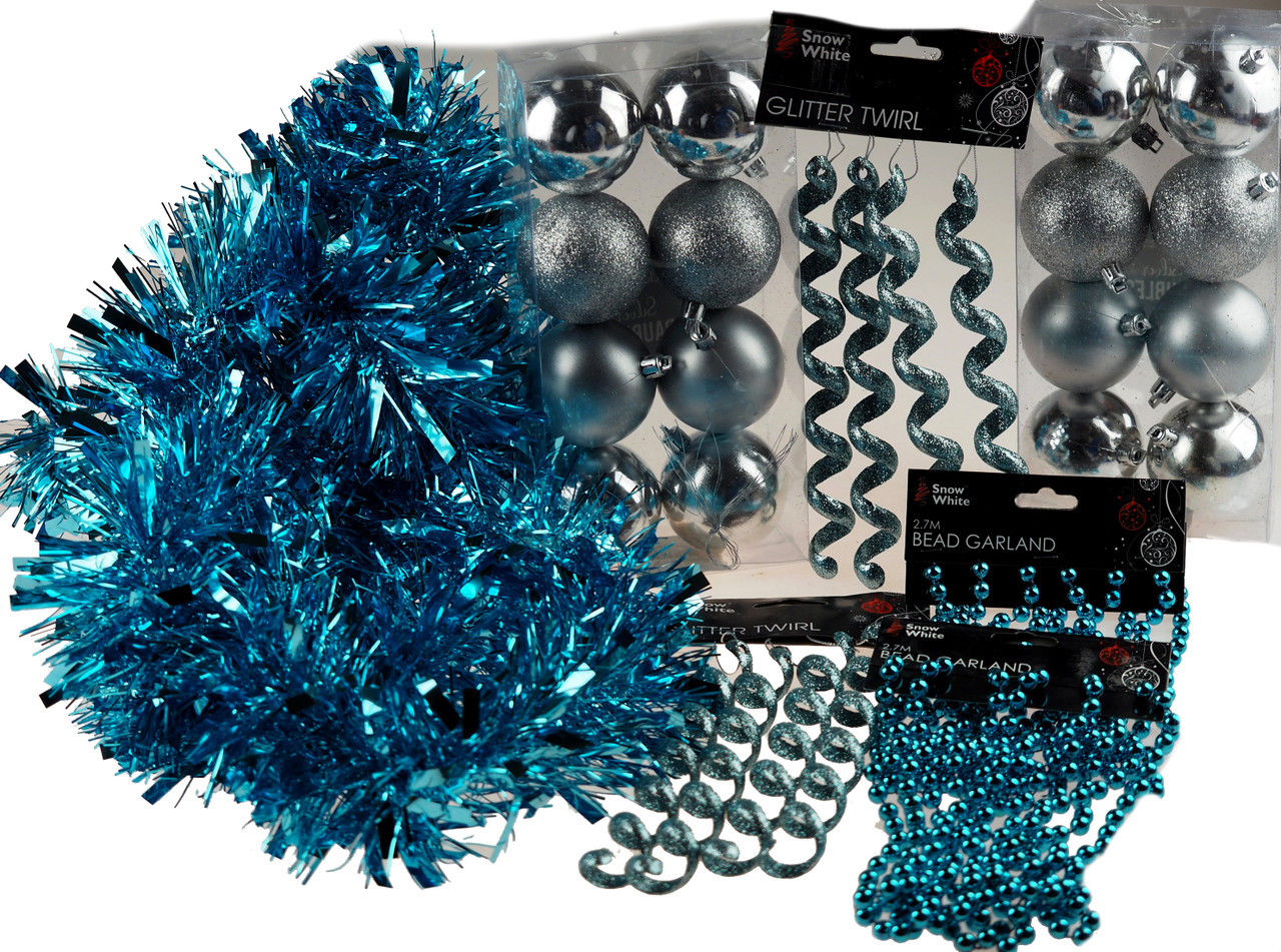 Ice Blue Silver Christmas Bauble And Tree Decorations Mega Set Blue Whale Gifts