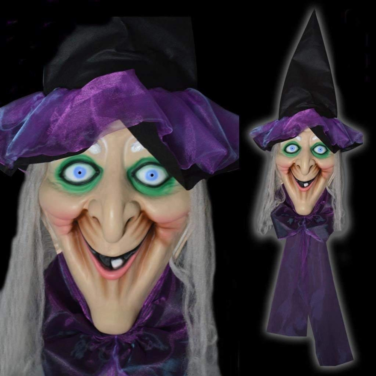 Animated Giant 192cm Witches Head Light Up Eyes Sound Halloween Party Decoration