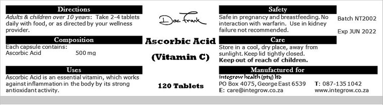 Ascorbic Acid (Vitamin C) 500 mg x 120 tabs