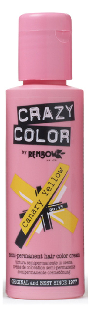 Crazy Color - Semi-Permanent Hair Color Cream 100ml - #49 Canary Yellow
