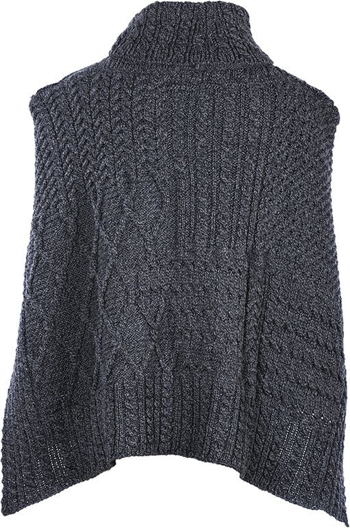 Irish Wool Cape Cowl Neck Merino Wool Gray Imported from Ireland A453-070