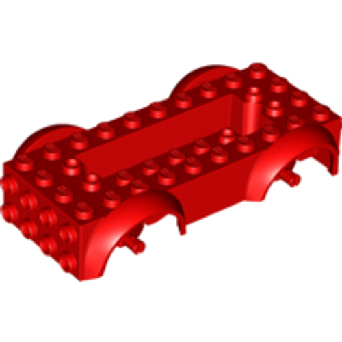 Vehicle, Base 5x10x2 1/2 with Mudguards and 6x2 Recessed Centre with 3 Holes (Red)