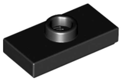 Plate, Modified 1x2 with 1 Stud with Groove and Bottom Stud Holder (Black)
