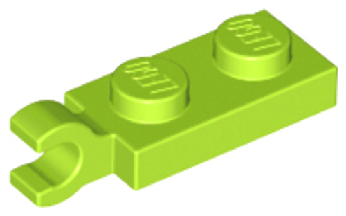 Plate, Modified 1 x 2 with Clip Horizontal on End (Lime)
