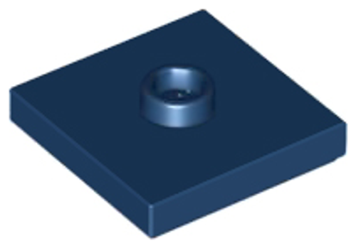 Plate Tile, Modified 2x2 with Groove and 1 Stud in Centre (Jumper) (Dark Blue)