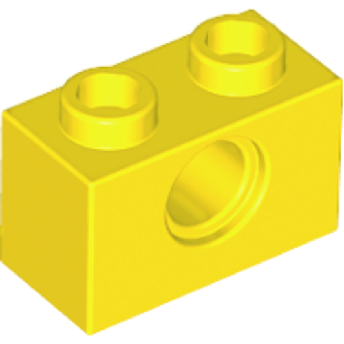 Technic, Brick 1x2 with Hole (Yellow)