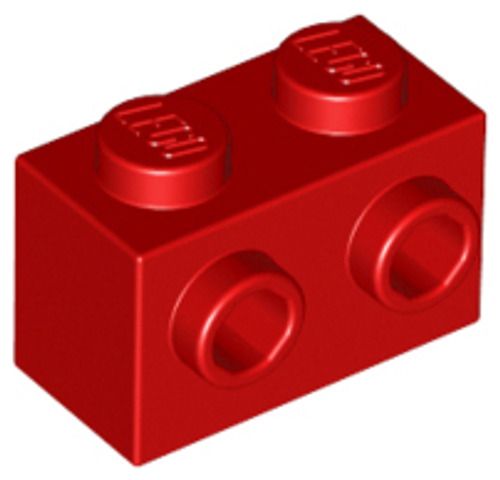 Brick, Modified 1x2 with Studs on 1 Side (Red)